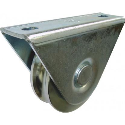 Roue avec support extérieur Guitel point M - Gorge ronde - Diamètre 80 mm