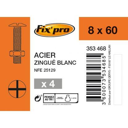 Boulon poêlier acier zingué - 8x60 - 4pces - Fixpro