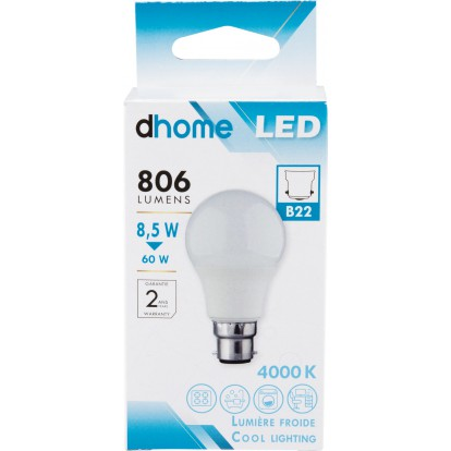 Ampoule LED standard B22 dhome - 806 Lumens - 8,5 W - 4000 K - Vendu par 10