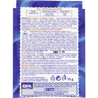Teinture tissu main-machine Ideal - Sachet 15 g - Bleu marine n°20