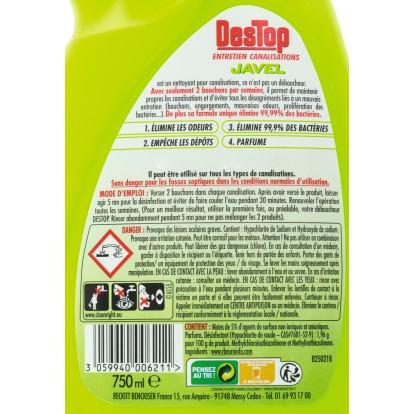 Entretien canalisations Destop - Javel - Flacon 750 ml