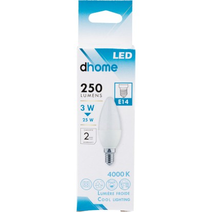 Ampoule LED flamme E14 dhome - 250 Lumens - 3 W - 4000 K - Vendu par 10