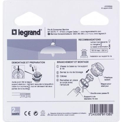 Douille E27 plastique Legrand - Raccord diamètre 10 mm - Bague isolante + passe-Fil