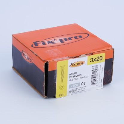 Vis à bois tête fraisée PZ - 3x20 - 500pces - Fixpro