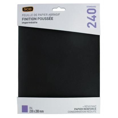 Papier imperméable 230 x 280 mm SCID - Grain 240 - Vendu par 4