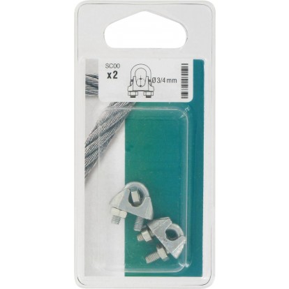 Serre-câble à étrier Chapuis - Etrier acier - Diamètre Câble 3 à 4 mm - Vendu par 2