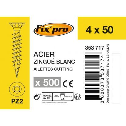 Vis à bois tête fraisée PZ - 4x50 - 500pces - Fixpro