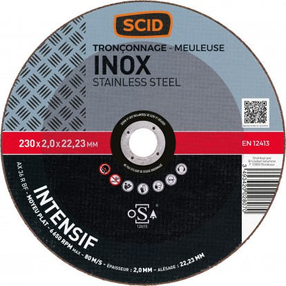 Disque à tronçonner l'inox SCID - Moyeu plat - Diamètre 230 mm - Alésage 22,2 mm