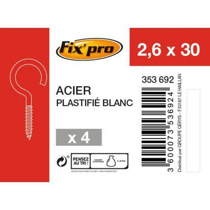 Crochet à visser acier plastifié blanc - 2,6x30 - 4pces - Fixpro