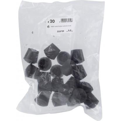Embout enveloppant caoutchouc noir Shepherd - Diamètre 20 mm - Vendu par 20