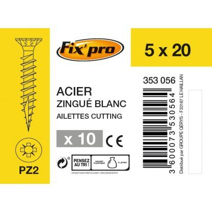Vis à bois tête fraisée PZ - 5x20 - 10pces - Fixpro
