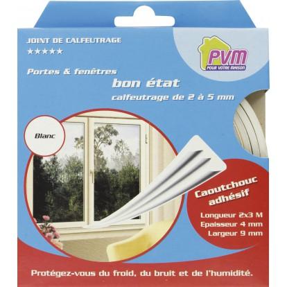Joint caoutchouc profil E PVM - Blanc - Longueur 6 m