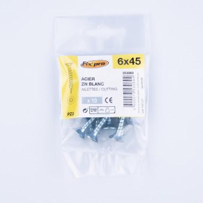 Vis à bois tête fraisée PZ - 6x45 - 10pces - Fixpro
