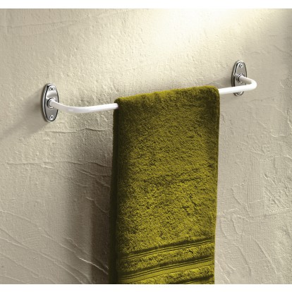 Porte-serviette en acier époxy blanc Godonnier - Fixe - 1 branche