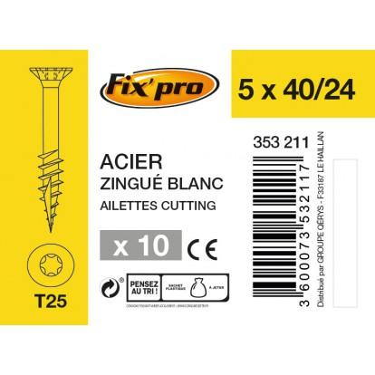 Vis à bois tête fraisée TX - 5x40/24 - 10pces - Fixpro