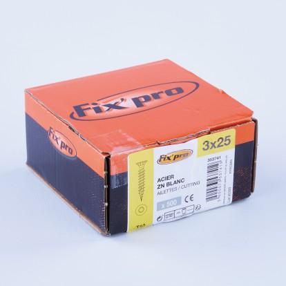 Vis à bois tête fraisée TX - 3x25 - 500pces - Fixpro