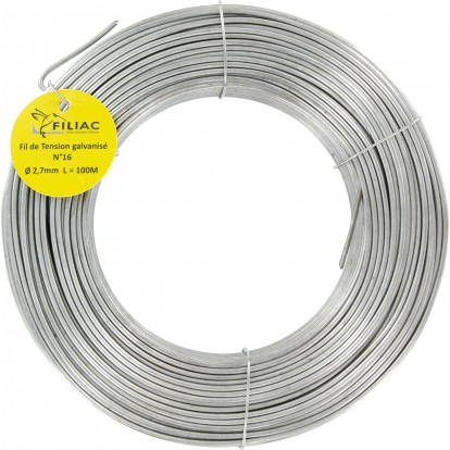 Fil de tension galvanisé Filiac - n°16 - Longueur 100 m - Diamètre 2,7 mm