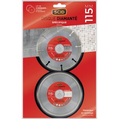 Disque diamanté matériaux carrelage SCID - Diamètre 115 mm - Vendu par 2