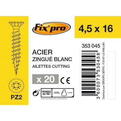 Vis à bois tête fraisée PZ - 4,5x16 - 20pces - Fixpro
