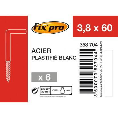 Gond à vis acier plastifié blanc - 3,8x60 - 6 pces - Fixpro