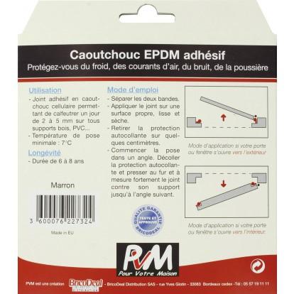 Joint caoutchouc profil P PVM - Marron - Longueur 10 m