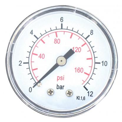 Manomètre 12 bar Cap Vert - Axial - 8 x 13