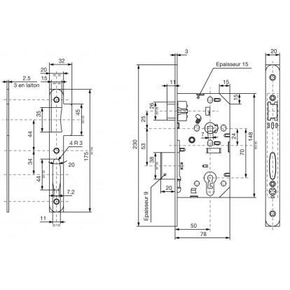 Serrure réversible pêne dormant 1/2 tour sans cylindre série D40 Vachette - Bouts carrés - Largeur 68 mm - 148 mm