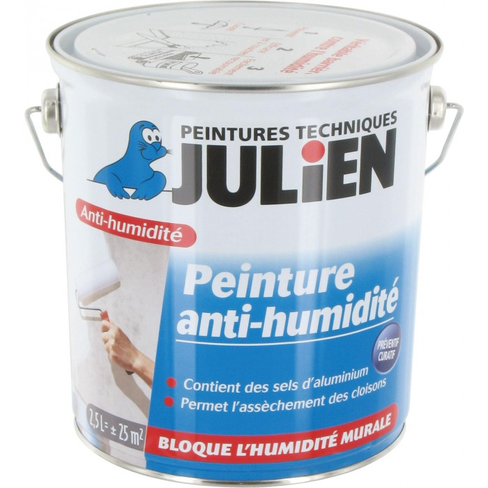 peinture anti humidit julien bidon 2 5 l de peinture isolante 1065687 mon magasin g n ral. Black Bedroom Furniture Sets. Home Design Ideas