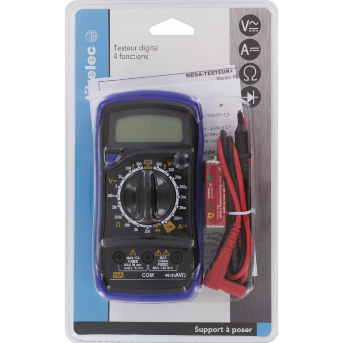 Contr leur de courant digital pro tibelec 4 fonctions de for Controleur de tension electrique