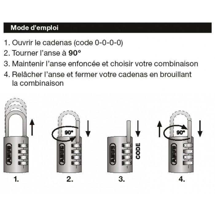 Cadenas noir aluminium combinaison interchangeable s rie 155 abus anse hauteur 15 5 mm - Comment changer le code d un cadenas ...