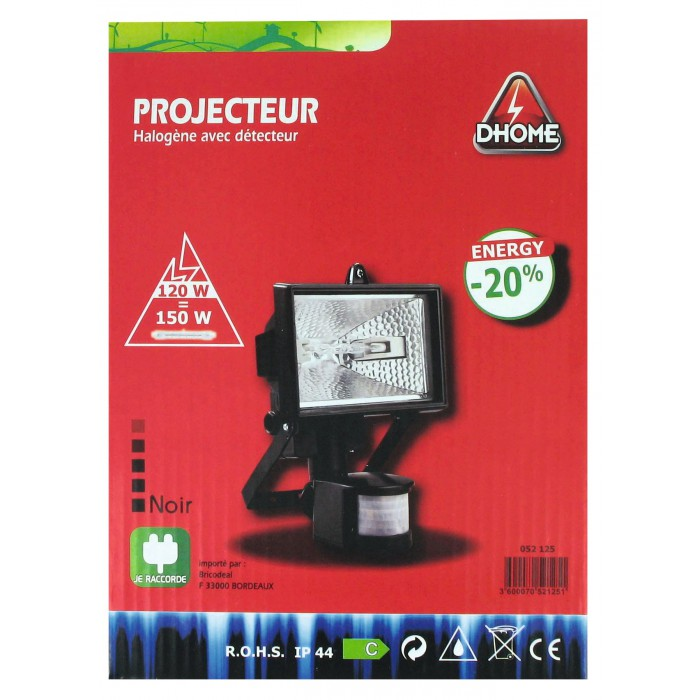projecteur halog ne 120 w avec d tecteur dhome noir de projecteur halog ne. Black Bedroom Furniture Sets. Home Design Ideas