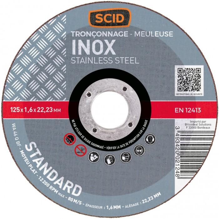 disque tron onner l 39 inox scid moyeu plat diam tre 125 mm al sage 22 2 mm. Black Bedroom Furniture Sets. Home Design Ideas