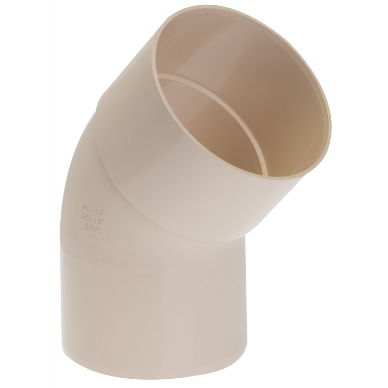 Coude diamètre 80 Mâle / Femelle Girpi - 45° - Sable