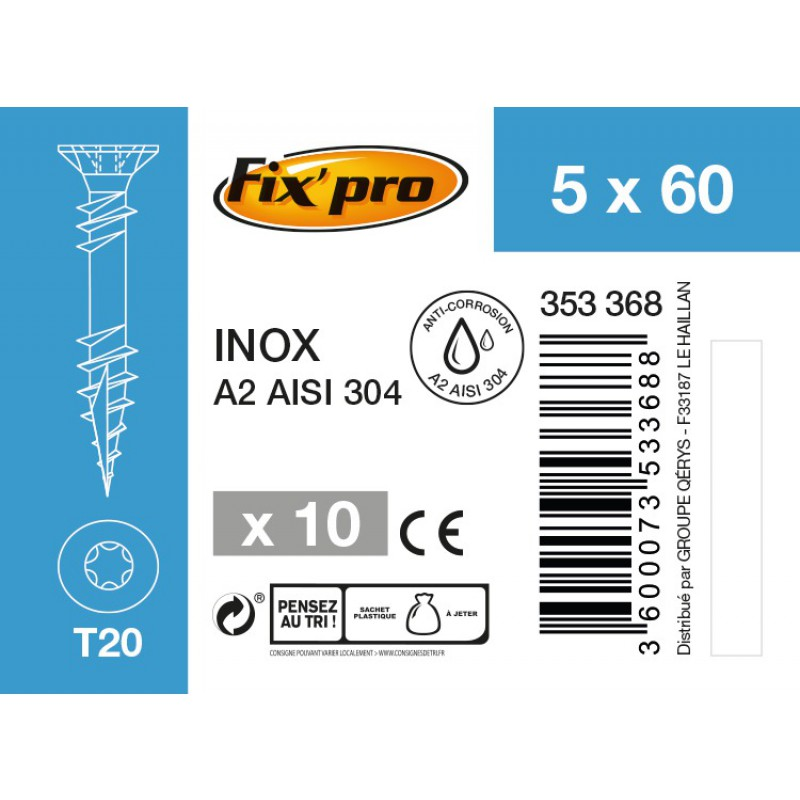 Vis terrasse inox A2 - 5x60 - 10pces - Fixpro