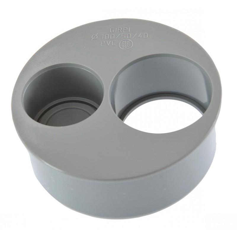Tampon de réduction operculé 2 piquages Mâle / Femelle Girpi - Diamètre 100 - 50 - 40 mm