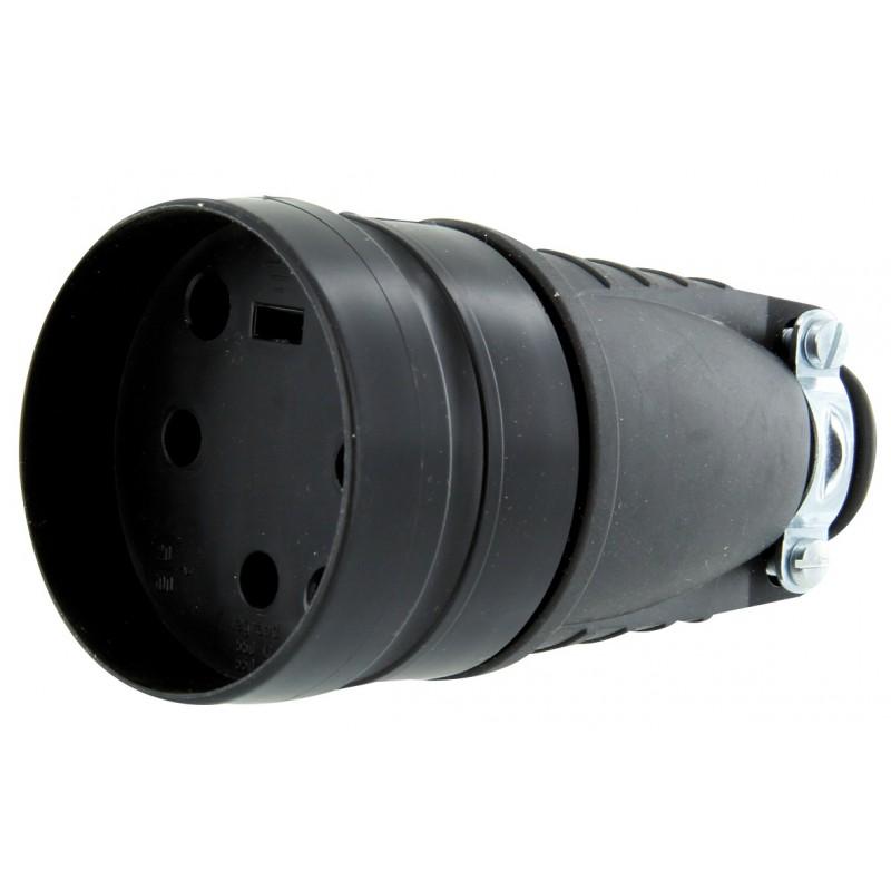 Fiche caoutchouc noir 3P+T 20 A Legrand - Femelle - Sortie droite - Noir