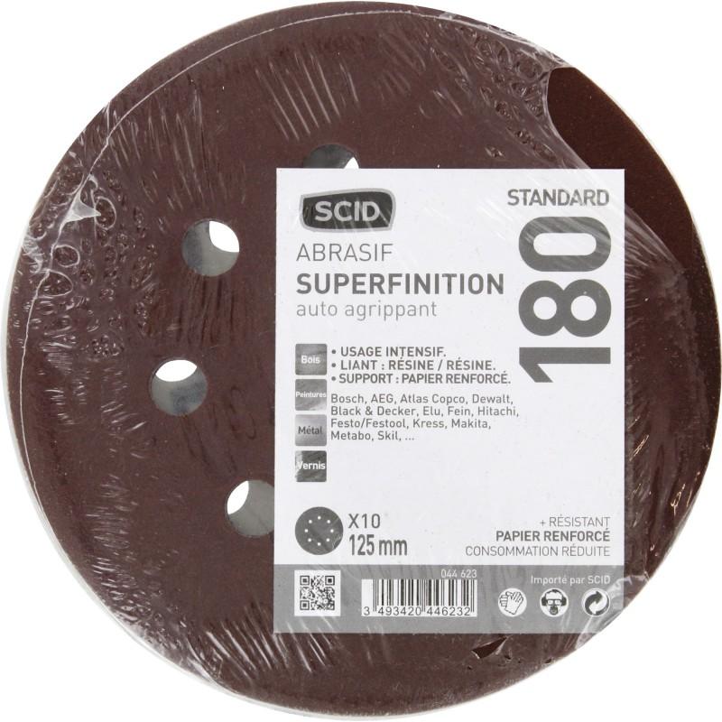 Disque auto-agrippant SCID - 8 trous - Grain 180 - Diamètre 125 mm - Vendu par 10