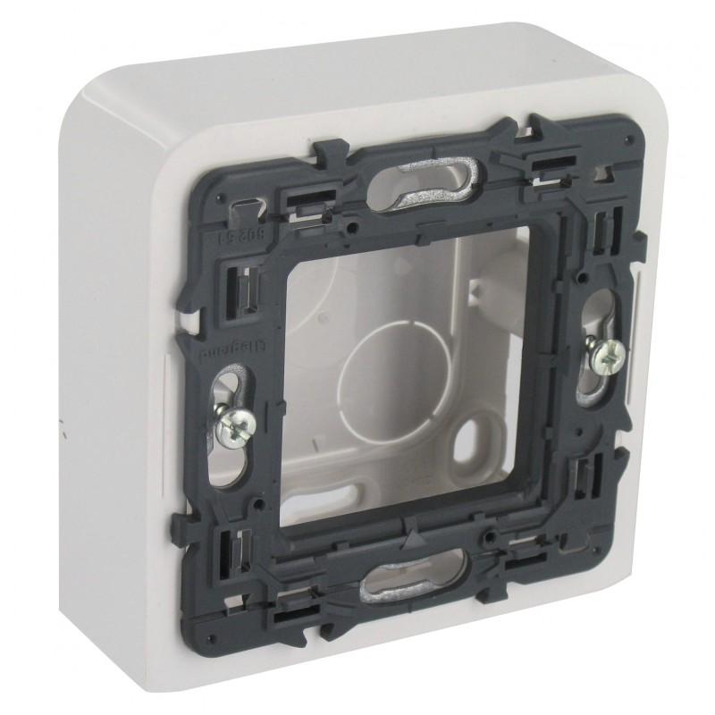 Cadre blanc avec support Legrand - Mosaïc - 2 modules - Profondeur 30 mm