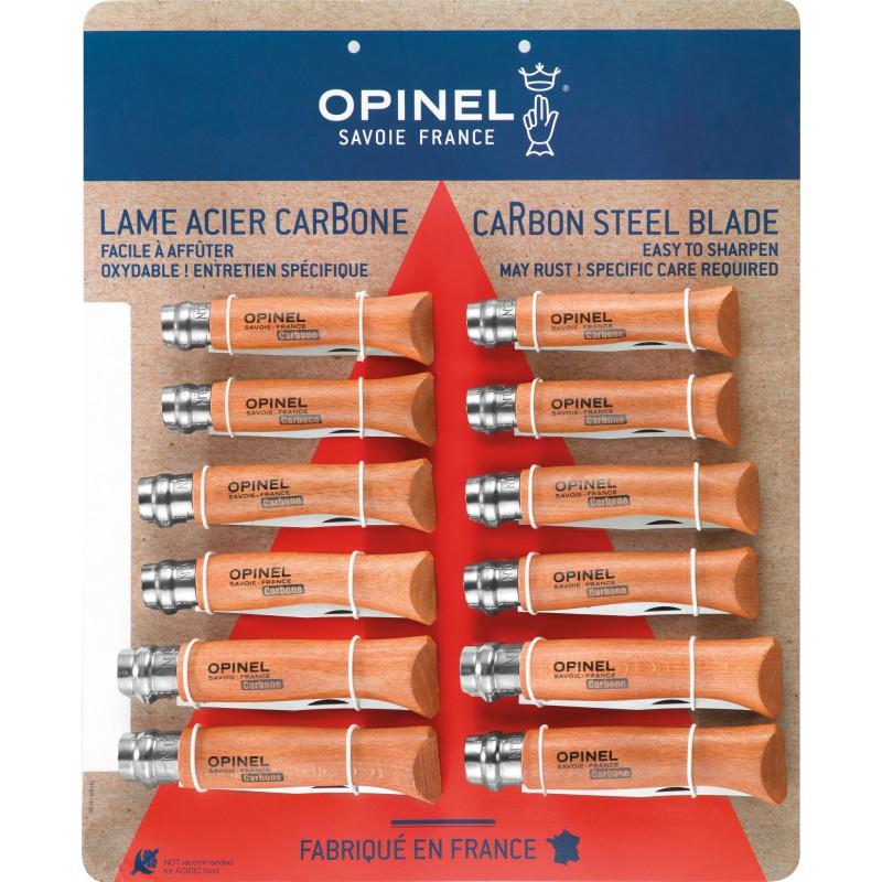 Couteau lame acier carbone Opinel - 12 couteaux assortis 4 n°6 - 4 n°7 - 4 n°8 - Vendu par 12