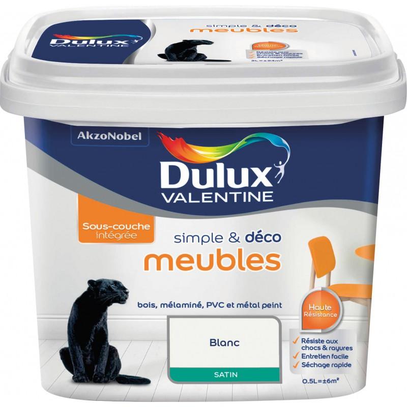 Peinture de rénovation meuble Dulux Valentine - 0,5 l - Blanc Satin