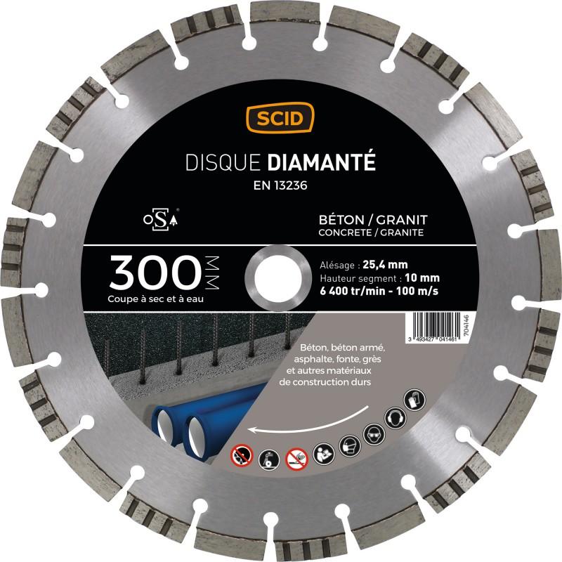 Disque diamanté béton granit ventillé SCID - Diamètre 300 mm