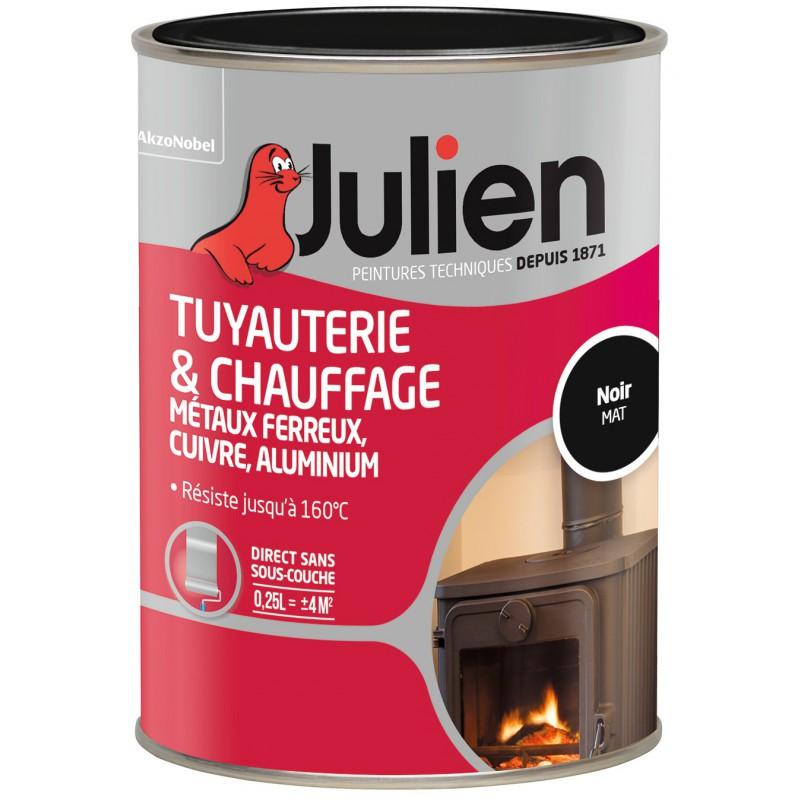 Peinture Tuyauterie Et Chauffage Julien   Noir   Mat   250 Ml De