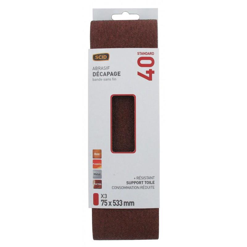 Bande sans fin abrasive SCID - Dimensions 75 x 533 mm - Grain 40 - Vendu par 3