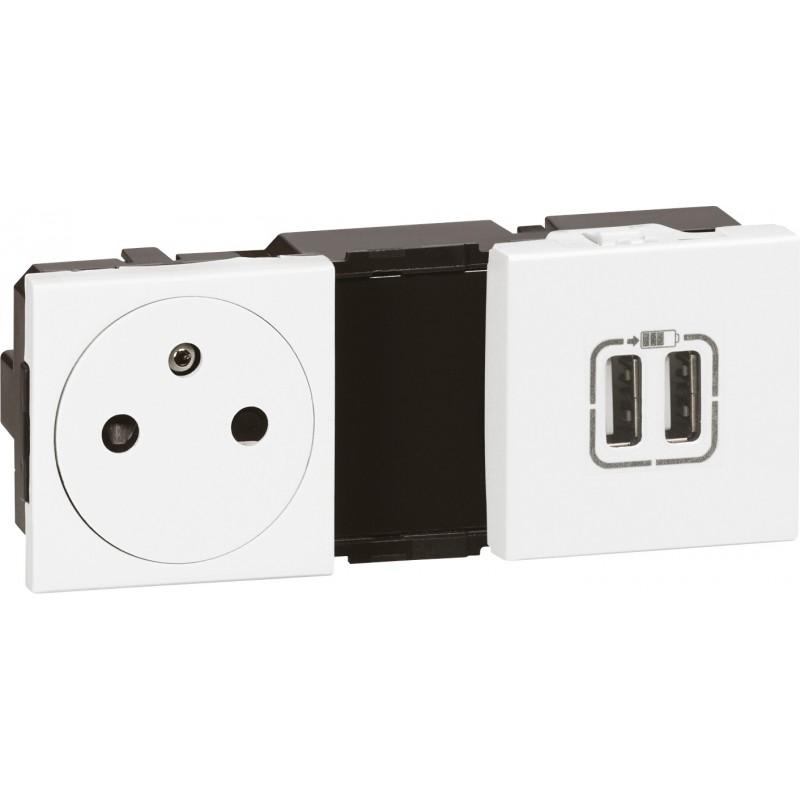 Prise 2P+T et prise double USB Legrand - Mosaïc - 4 modules