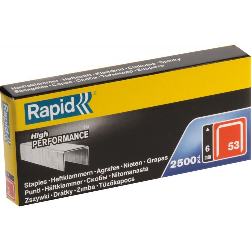 Agrafe n°53 Rapid Agraf - Hauteur 6 mm - 2500 agrafes