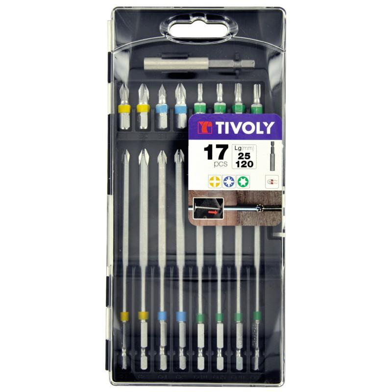 Coffret embout de vissage extra long Tivoly - Longueur 120 mm - 17 pièces