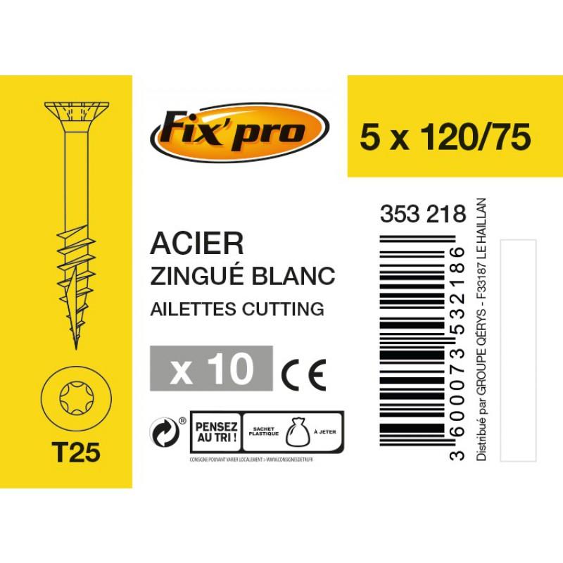Vis à bois tête fraisée TX - 5x120/75 - 10pces - Fixpro