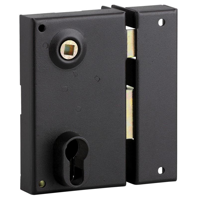 Serrure verticale pour cylindre à fouillot Thirard - Noir - Droite - Section 7 mm