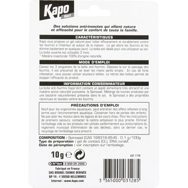 Fourmis pi ge kapo vert bo te app t 10 g de insecticide - Piege a fourmis ...