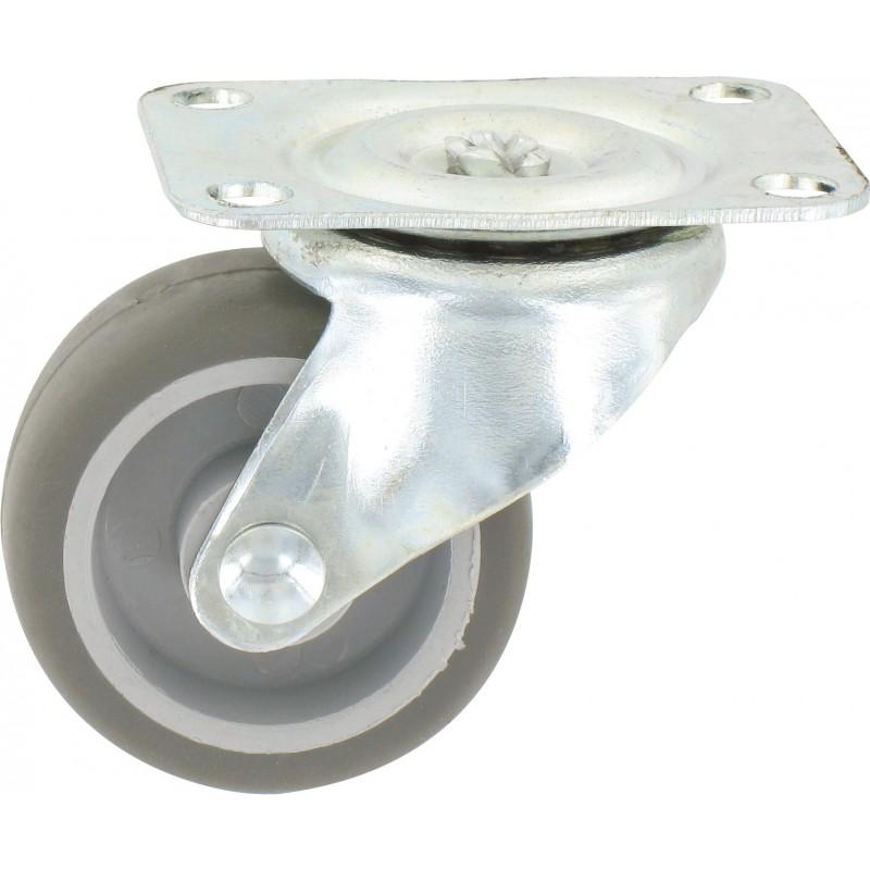 Roulette Mini Roll à platine pivotante Guitel point M - Roue Plastex gris - Charge utile 15 kg